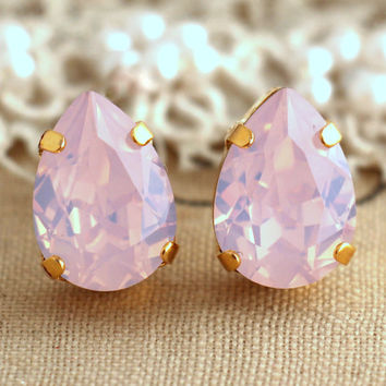 Pink Opal Crystal earrings, Blush Drop Crystal Swarovski Stud earrings, Crystal Opal Stud earrings, Bridal jewelry, Bridesmaids earrings.