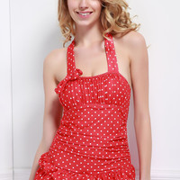 Red Vintage Polka Dot Print Multi-Layered One Piece Swimsuit