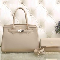 Hermes Women Fashion Leather Satchel Tote Handbag Shoulder Bag Crossbody Set Two-Piece-2