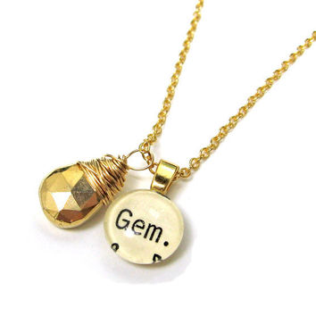 Ultra Luxe Gold Gem Library Necklace Word Pendant Gem and Pyrite Drop Rock and Roll Style