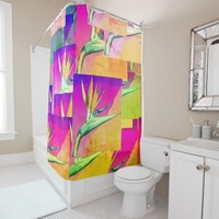 Bird Of Paradise, Shaded Cell Shower Curtain