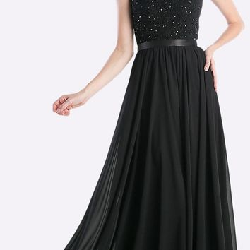 Sheer Neckline Floral Applique Sequin Evening Dress Black