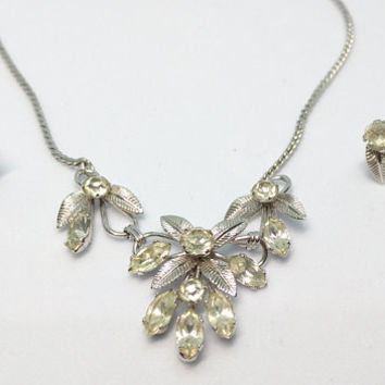 Lovely Vintage Van Dell Sterling Silver and Paste Rhinestone Leaf Necklace w/ Matching Screw Back Earrings