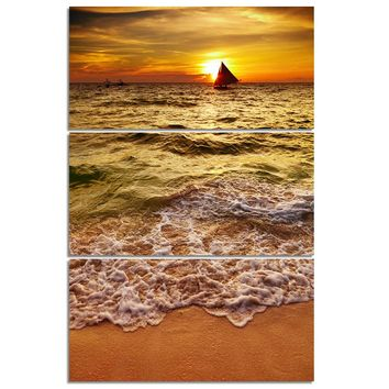 3 Piece/Pcs Golden Sea Wave Beach at Sunset with Boat Wall Art Panel Canvas