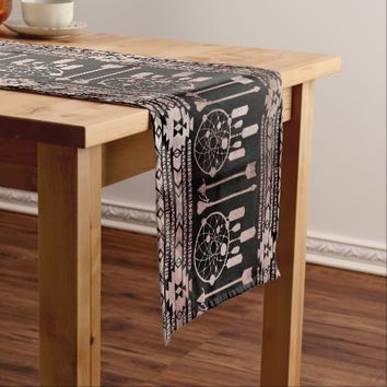 Dreamcatcher Rose Gold Tribal Aztec on Black Short Table Runner