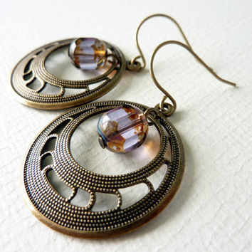 Filigree Circle Earrings, Vintage Brass, Beaded Earrings, Drop Earrings