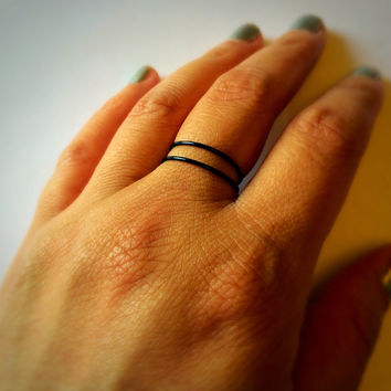Double Black Ring Adjustable Thin Ring Stacking Ring