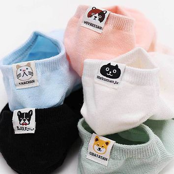 Japan Style Cat & Dog Patterned Candy Women Casual Sock Slippers Label Decoration Solid Invisible Seamless Sock For Girls Simple