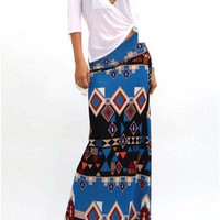 Night Life Boho Knit Maxi Skirt - Teal Black