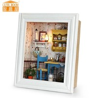 Wooden Doll House Room Kit with Miniature Furniture Photo Frame