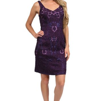 046e71469d Sue Wong - C2411 V-neck Embroidered Sheath Cocktail Dress