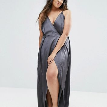 ASOS CURVE Ruched Side Satin Maxi Slip at asos.com