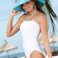 White Pearl: Strapless One Piece Tank
