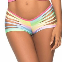 Rainbow Neon Print Slashed Booty shorts