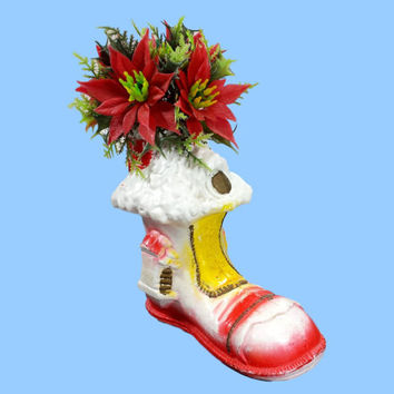 Vintage Christmas Plastic Boot House Poinsettia Greenery Decorations Retro Holiday Table Shelf Centerpiece Decor Blow Mold Kitsch Ornament