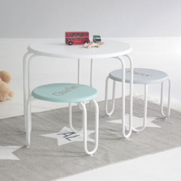 Green And Grey Round Table And Stool Set