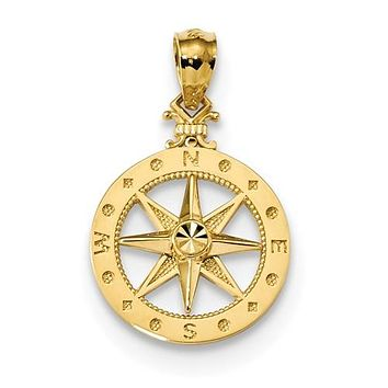14K Yellow Gold diamond cut Compass Necklace Charm