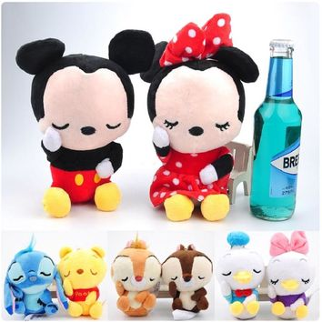 icottbaby 12cm Lovely Mickey and Minnie Plush Toys Mini Donald Duck Doraemon Cartoon Anime Dolls For Baby Toys Gift
