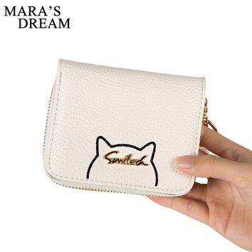 Mara's Dream Women Cute Cat Wallet Small Zipper Wallet PU Leather Women Coin Purse Female Card Holders Carteira Feminina Clutch