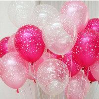 PuTwo 30ct Assorted Fuchsia Pink Clear Around Star Balloons