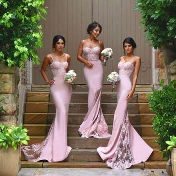 Pretty Bridesmaid Dress Long Backless Satin Formal Gowns Lilac Bridesmaid Dresses 2016 Mermaid WIth Appliques Lace Spaghetti