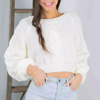 Beige Lantern-Sleeve Knitted Sweater