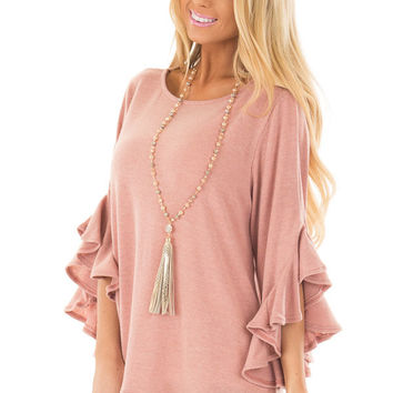 Blush Knit Top with Ruffled Hi Low Sleeves