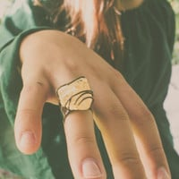 Bohemian ring Fall ring Citrine ring Yellow ring Raw crystal ring natural ring copper ring handmade ring statement ring adjustable ring