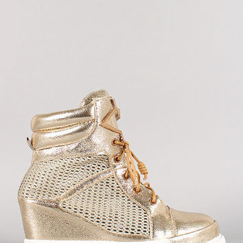 Metallic Leatherette Mesh Wedge Sneaker
