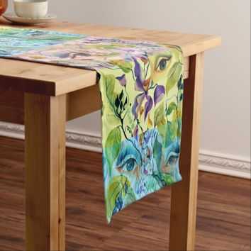 Utopian Psychedelic Surreal Eyes Design Short Table Runner