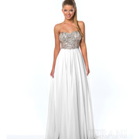 White & Nude Sequin Chiffon Gown Prom 2015