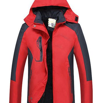 Women Outdoor Waterproof Windproof Hooded Thick Jackets