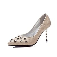 Pointed Toe Studded Sequin High Heel Pumps Wedding Shoes Woman 8182