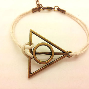 Antique Harry potter Deathly Hallows White Rope Bracelet women ropes bracelet Men rope bracelet  1321A