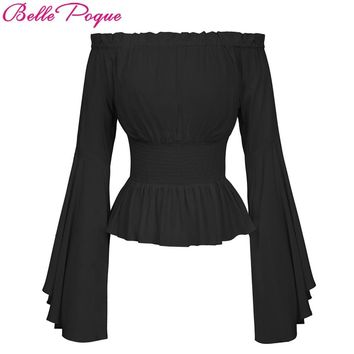 SHIRT Sexy Off Shoulder Womens Tops Retro Vintage Renaissance Gothic Blouse femme Women Victorian Long Bell Sleeves Shirts