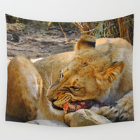 Lion dinner Wall Tapestry by ZLAArtDesigns