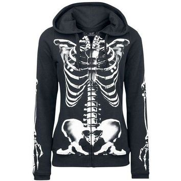 2018 Gothic Punk Women Skull Skeleton Frame Print Hoodies Hooded Long Sleeve Goth Human Skull Black Sweatshirt Plus Size