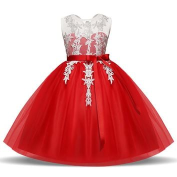 Kids Girl Dress Pageant Princess Tulle Dress For Girl Children Clothing Fancy Lace Dresses Wedding Girl Clothes Little Baby Wear