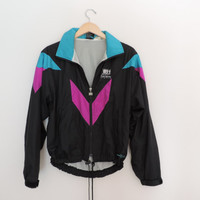 Vintage Frank Shorter Black & Neon Windbreaker Jacket Size SMALL