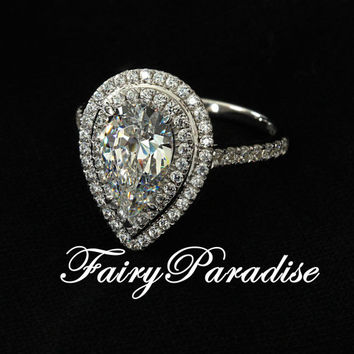 Art Deco 3 Ct Pear Cut lab made Diamond Double Halo setting Engagement Wedding Promise Cocktail Ring with gift box (FairyParadise)