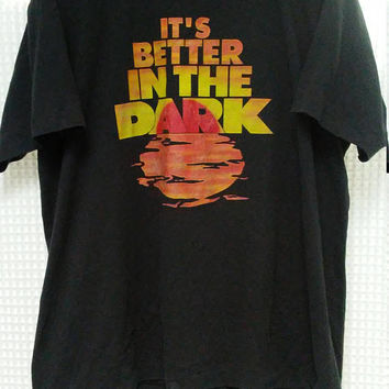 vintage 80's 90's Booze T Shirt Myers's Original Dark Rum It's Better in the Dark XL kinky party funny 50/50 tee double sided drink alcohol