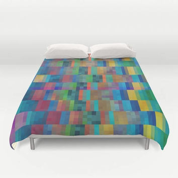 Beautiful Duvet Cover or comforter - geometric graphic bold blue red, gold, green design, bedroom linens, jewel tone, vibrant modern decor
