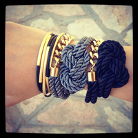 SPRING SALE - 20% OFF! Set of 5 Black leather Bangle Bracelets with gold bars - 24k mate gold plated