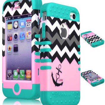Pink Chevron Hybrid Anchor Case  Teal Silicone Cover  iPhone 4, 4S