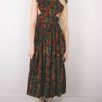 Vintage 70s Velvet Paisley Flutter Sleeve Cut Out Maxi Dress
