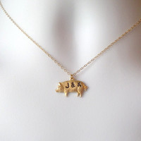 Pig Necklace- Gold Pig Necklace - Mongrammed Necklace - Personalized Necklace - Hand Stamped Jewelry - Christmas Gift