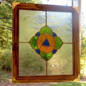 Stained Glass Poppy Panel - Victorian Inspired Poppy Suncatcher
