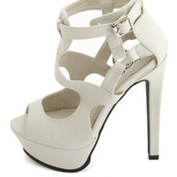 Stone Caged Ankle Harness Strappy Platform Heels by Charlotte Russe