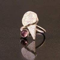 Ice-Cream Cone Open Ring/ Sterling Silver Ice-Cream Cones on Adjustable Sterling Silver Open Band/ with Rose Cut Amethyst or Garnet or Onyx