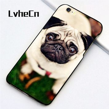 LvheCn 5 5S SE phone cover cases for iphone 6 6S 7 8 Plus X back skin shell Cute Pug Dog In The Garden